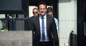 File photo from June 15th Leo Varadkar on one of his last duties as Taoiseach. Photograph: Dara Mac Dónaill
