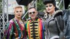 Live on Stage Ringmaster Paul Ryder, Mr Pride Eddie McGuinness, with Kiki St.Clair at last yeart's Dublin Pride