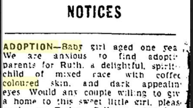 An adoption advertisement for a mixed-race baby girl, from the Evening Herald, October 11th, 1965.
