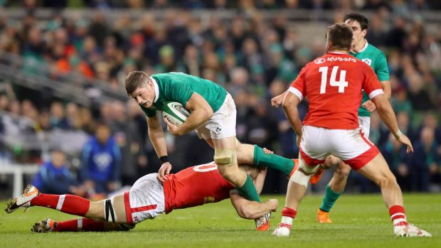 Jack O'Donoghue in action during his Ireland debut against Canada in November 2016. Photograph: James Crombie/Inpho