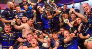 Leinster celebrate their Champions Cup triumph in Bilbao in 2018. Photograph:  Ramsey Cardy/Sportsfile via Getty Images