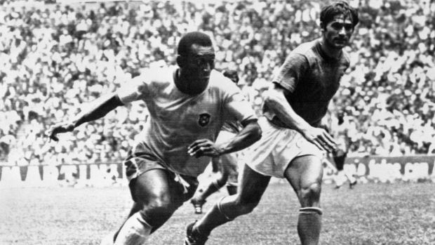 Brazilian midfielder Pelé dribbles past Italian defender Tarcisio Burgnich during the World Cup final, in Mexico City on June 21st, 1970, Photograph: Staff/AFP via Getty Images