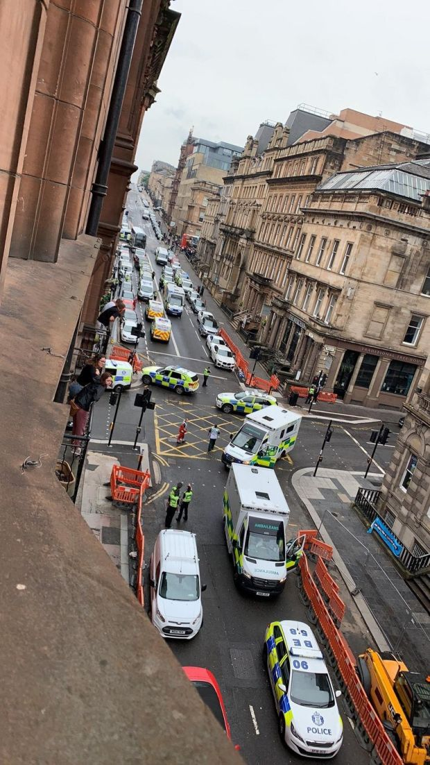 Irish backstop - Photo taken with permission from the Twitter feed of @Milroy1717 of emergency services presence in West George Street, Glasgow, as a serious police incident has closed roads in the city centre. Photograph: @Milroy1717/PA Wire