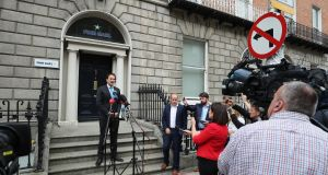 Taoiseach Leo Varadkar addressing the media outside the Fine Gael party headquarters in Dublin on Friday afternoon. Photograph: Nick Bradshaw