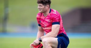 Jack O'Donoghue during Munster's training session at UL on Friday. Photograph: Inpho