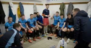 PFAI team manager Derek Pender gives a team talk ahead of the game against Home Farm.