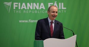 Fianna Fail Leader Micheál Martin TD at the party's press conference on Friday  evening. Photograph Nick Bradshaw