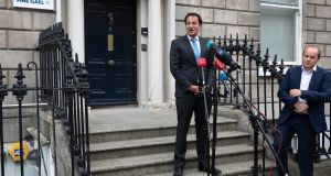 Taoiseach Leo Varadkar announcing on Friday, outside Fine Gael headquarters in Dublin, that the party's members had voted in favour of the programme for government. Photograph: Damien Eagers/PA Wire
