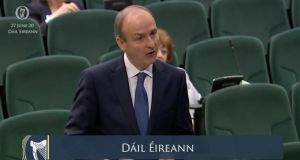 Taoiseach Micheál Martin addresses the Dáil after his election. Photograph: Oireachtas