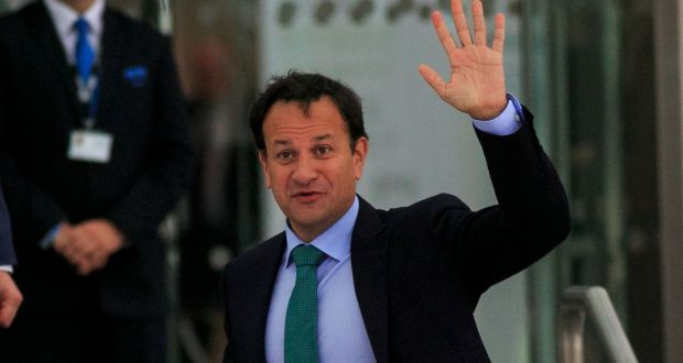 Outgoing taoiseach Leo Varadkar  at the Convention Centre on Saturday. Photograph: Gareth Chaney/Collins