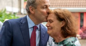 Taoiseach Micheál Martin with his wife Mary, after he arrrived home in Cork. Photograph: Michael Mac Sweeney/Provision