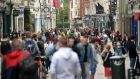 Crowds make their way along Grafton Street following the easing of coronavirus restrictions. Photograph: Dara Mac Dónaill