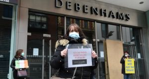 Debenhams staff protesting outside the Henry Street branch recently. Retail has been one of the sectors worst-hit by the Covid-19 lockdown. Photograph: Dara Mac Donaill