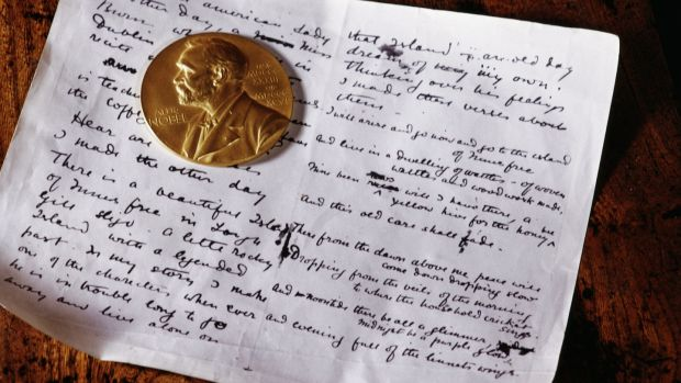The Nobel gold medal and a manuscript belonging to WB Yeats. He won the Nobel Prize for literature in 1923. Photograph: RDImages/Epics/Getty