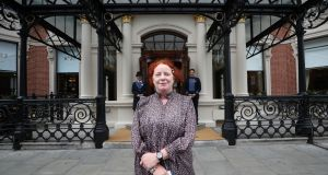 The Shelbourne: Rosita Boland outside the reopened hotel, on St Stephen's Green in Dublin. Photograph: Nick Bradshaw