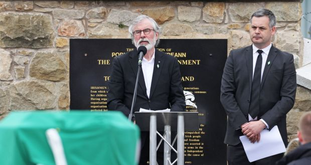 Former Sinn Féin president Gerry Adams  speaks alongside Sinn Féin TD Pearse Doherty during the funeral of Bobby Storey at Milltown Cemetery in west Belfast. Photograph: Liam McBurney/PA Wire