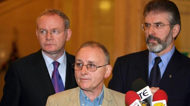 Martin McGuinness, Denis Donaldson and Gerry Adams in Stormont in December 2005. Donaldson was killed the following April. FIle photograph: Paul Faith/PA