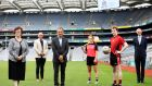 Croke Park will host hundreds of RCSI medical students this September. Pictured at the launch of the initiative are Professor Hannah McGee,  Dr Niall Stevens of the RCSI, along with Mark Dorman of Croke Park,  RCSI students Róisín Baker and Hugh Woulfe and RCSI chief executive Professor Cathal Kelly  take to the pitch in Croke Park.