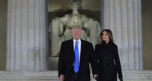 US president-elect  Donald Trump  and his wife Melania arrive for an inauguration concert at the Lincoln Memorial in Washington, DC on January 19th, 2017.  Photograph: Mandel Ngan/AFP via Getty Images