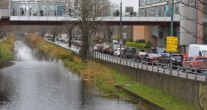 Backed-up traffic in Dublin. The reduction in car traffic flows caused by the lockdown led to a huge falls in the levels of harmful nitrogen oxides  in city air, especially in Dublin. Photograph: Alan Betson