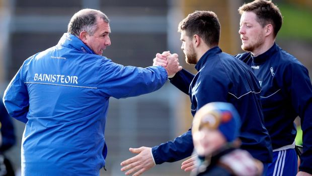 Monaghan manager Séamus McEnaney celebrates with Conor McManus after the league win over Mayo back in February. Photograph: Tommy Dickson/Inpho
