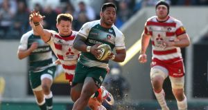 Leicester's  Manu Tuilagi in action against   Gloucester at Welford Road in 2016. Photograph: David Rogers/Getty Images