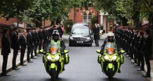 The funeral cortege of Noah Donohoe leaves St Malachy's College in Belfast, where the teenager went to school. Photograph: Niall Carson/PA Wire