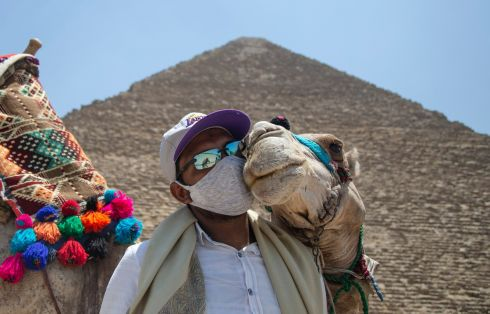GIZA KISS: A man holds a camel in front of the Giza pyramids after the site was reopened for tourist visits, in  Egypt. Photograph: Mohamed Hossam/EPA