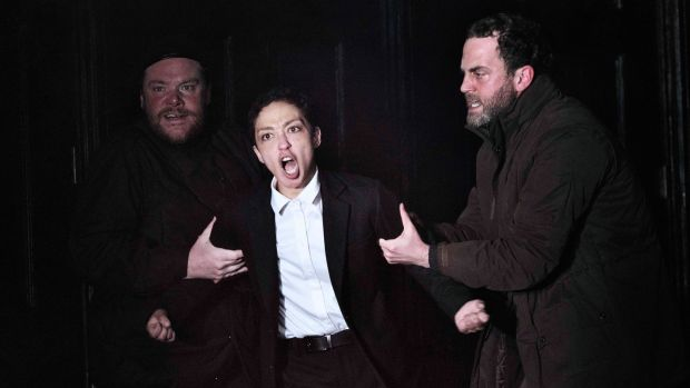 Ruth Negga as Hamlet, with Peter Gaynor (left) and Mark Huberman at the Gate Theatre
