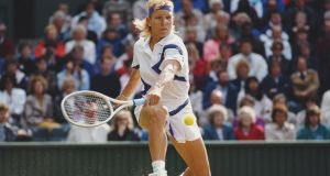 Martina Navratilova in action at Wimbledon in 1990. File photograph: Getty Images