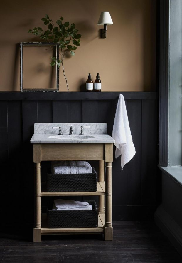 Edinburgh Undermount Open Washstand, priced at €1,845. Ashcroft Rectangular Box Tray, medium, €53.