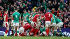 Ireland celebrate winning a penalty at a Welsh scrum during February's Six Nations clash at the Aviva Stadium. Photograph: Dan Sheridan/Inpho