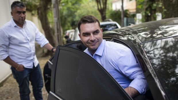 Flávio Bolsonaro is attempting to kick the Queiroz case into the legal long grass. Photograph: Mauro Pimentel/AFP via Getty Images