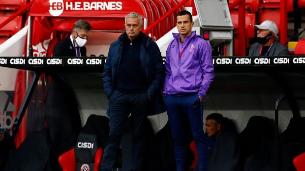 José Mourinho looks on during Tottenham Hotspur's defeat to Sheffield United. Photograph: Jason Cairnduff/PA