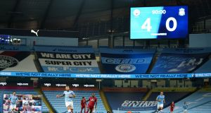 Manchester City beat Liverpool 4-0 at the Etihad on Thursday night. Photograph: Dave Thompson/Getty