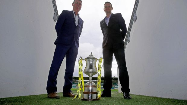 Stephen Kenny and Ian Baraclough ahead of the 2014 Setanta Sports Cup final, in which Sligo Rovers beat Dundalk. Photograph: Donall Farmer/Inpho