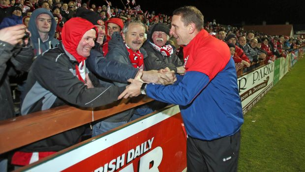 Ian Baraclough with Sligo Rovers supporters in 2012. Photograph: Donall Farmer/Inpho