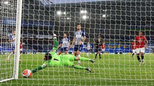 Mason Greenwood opened the scoring for Manchester United against Brighton on Friday. Photograph: Mike Hewitt/PA