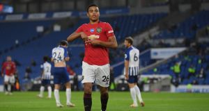 Mason Greenwood celebrates after scoring for Manchester United against Brighton. Photograph: Mike Hewitt/Getty