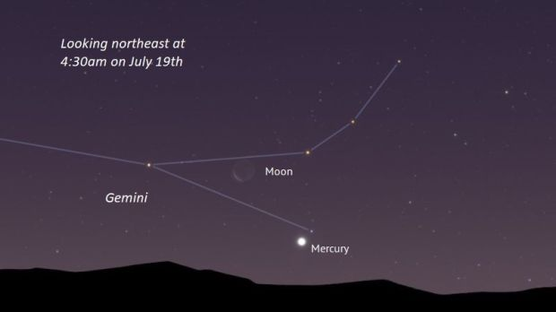 Mercury with the moon 37 hours from New at 4:30am on July 19th.