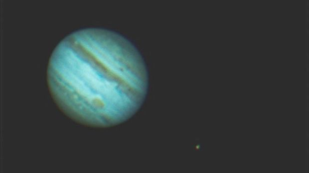Jupiter with its moons Io and Europa photographed in 2010 by John Dolan, Irish Astronomical Society (www.irishastrosoc.org).