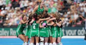 Ireland captain Kathryn Mullan celebrates their victory over India with her team-mates in the 2018 Hockey World Cup. Photograph: Christopher Lee/Getty Images