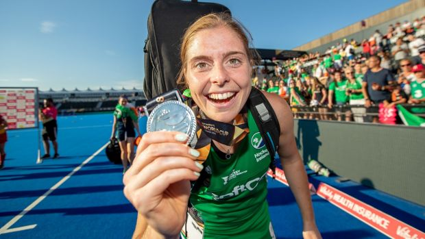 Katie Mullan celebrates with her silver medal after the World Cup final. Photograph: Morgan Treacy/Inpho
