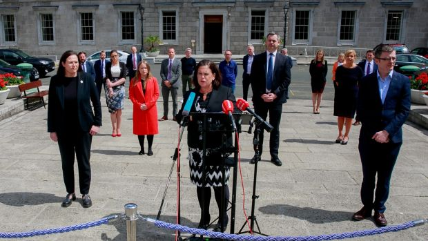 Sinn Féin president Mary Lou McDonald at the announcement of the party's new front bench on the plinth of Leinster House, Dublin. Photograph: Gareth Chaney/Collins