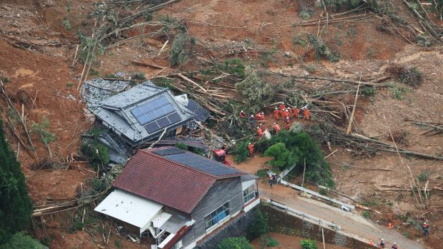 A house is washed away after a landslide due to heavy rain in Ashikita, Kumamoto prefecture, Japan. Photograph: Jiji Press/AFP via Getty Images