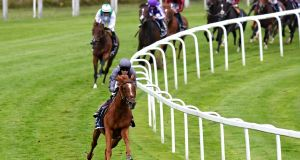 Serpentine and Emmet McNamara stretch them out in the Epsom Derby. Photograph: George Selwyn/PA