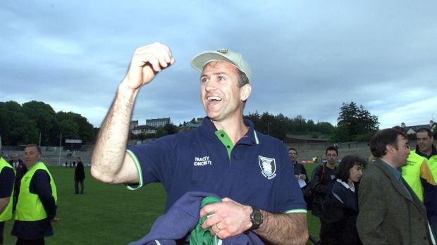 John Maughan celebrates Fermanagh's Ulster Championship replay win over Donegal in 2001. Photograph: Andrew Paton/Inpho