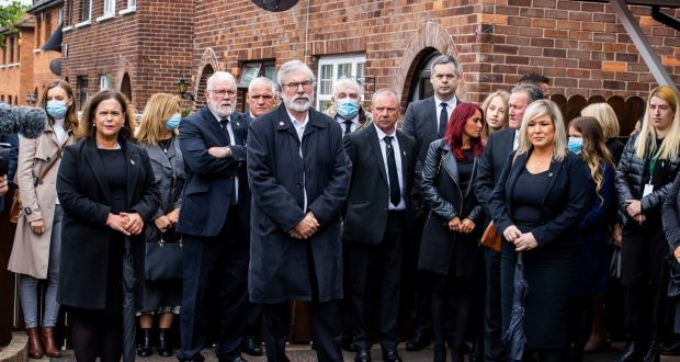 Sinn Féin leader Mary Lou McDonald, former  leader Gerry Adams, and Deputy First Minister Michelle O'Neill at the funeral of senior Irish republican  Bobby Storey in west Belfast. Photograph: Liam McBurney/PA Wire