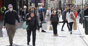 People out and about in Dublin city centre on Sunday. Photograph: Collins