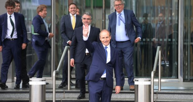 Fianna Fáil leader Micheál Martin emergingfrom the Convention Centre after being elected as Taoiseach. Photograph: Alan Betson / The Irish Times
